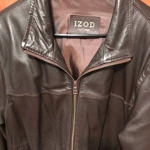Izod leather brown coat